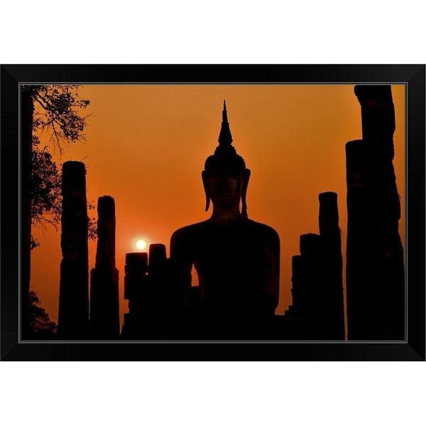 """""""Silhouette Of Ancient Buddha Statue Sitting In Middle Of Ruined Temple"""" Black Framed Print"""