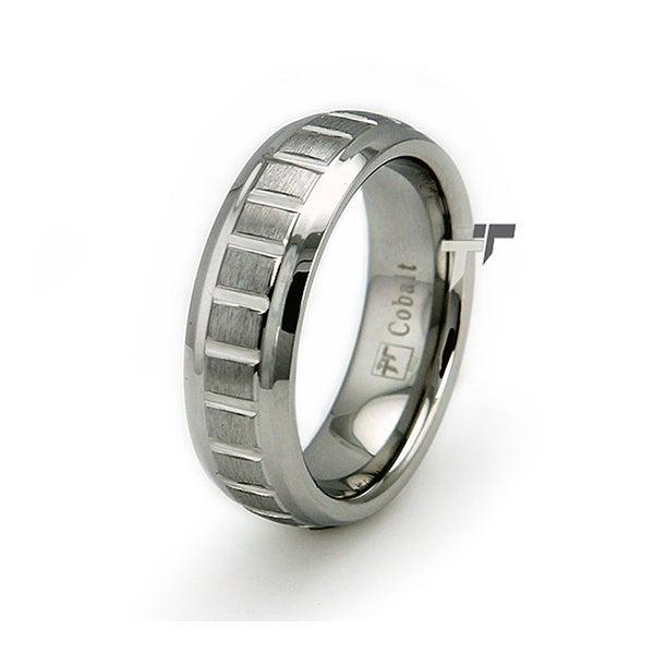 Cobalt Chrome Groove Ring Wedding Band