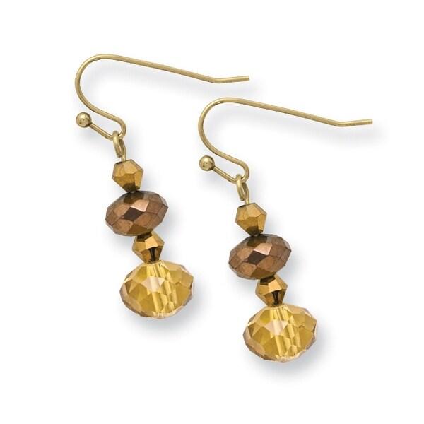 Brass Purple Crystal & Enamel Post Dangle Earrings