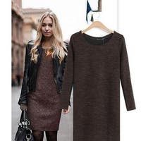 Women Knitted Long Sleeve Mini Dress Casual Loose Woolen Sweater Dress Autumn,Spring,Winter Dress