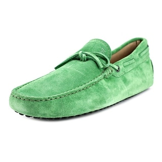 Tod's New Laccetto Occh New Gommini 122 Men Moc Toe Suede Green Loafer