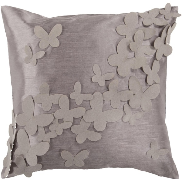 """18"""" Elephant Gray and Cobble Stone Dimensional Butterflies Down Throw Pillow"""