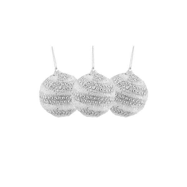 """Set of 3 Silver Swirl Beaded and Glittered White Confetti Shatterproof Christmas Ball Ornaments 3"""" (75mm)"""