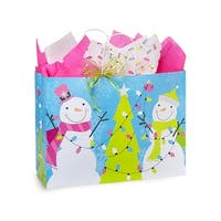 """Pack of 25, Vogue Snowman Jubilee Bags 16 X 6 X 12.5"""" For Christmas Packaging, 100% Recyclable, Made In Usa"""