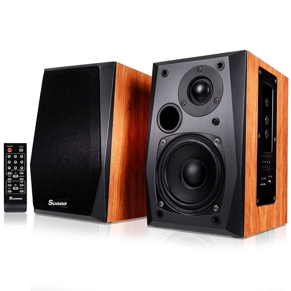 Costway Powered Bluetooth Bookshelf Speakers Active Near Field Monitors Remote Control