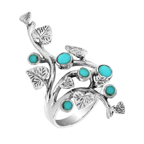Handmade Beautiful Vine Leaves Turquoise Sterling Silver Ring (Thailand)