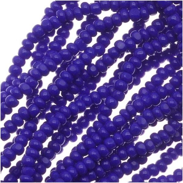 Czech Charlotte Seed Beads 13/0 Opaque Cobalt Blue 1/2 Hank