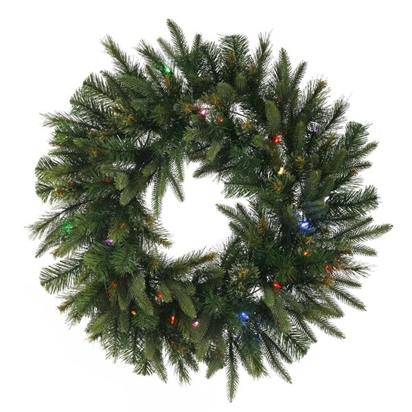 """30"""" Pre-Lit Battery Operated Mixed Pine Cashmere Christmas Wreath - Multi Lights - green"""