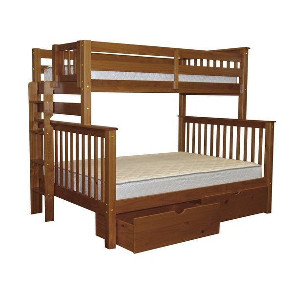 Bedz King Bunk Beds Twin over Full Mission Style with End Ladder and 2 Under Bed Drawers, Espresso. Opens flyout.