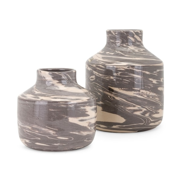Shop Set Of 2 Brown And Beige Textured Williams Tabletop Vases 1025