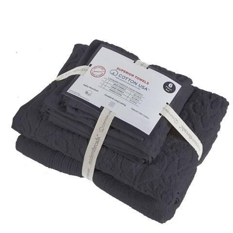 Assisi 6 Piece Fabric Towel Set with Jacquard Pattern The Urban Port, Dark Gray