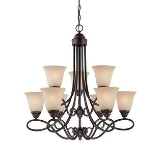 Jeremiah Lighting 25029 Cordova Two Tier 9 Light Chandelier - 29 Inches Wide - satin nickle