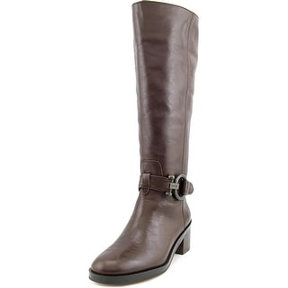 Coach Carolina Wide Calf Women  Round Toe Leather Brown Knee High Boot