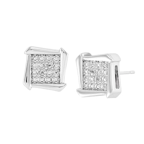 Square Stud Earrings with Diamonds in Rhodium-Plated Bronze