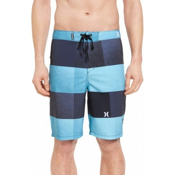 6a0e41a62f Shop Hurley NEW Blue Striped PLaid Mens Size 33 Board Surf Volley Swimwear  - Free Shipping On Orders Over $45 - Overstock.com - 19517100