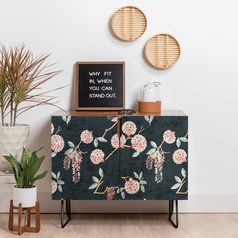 Deny Designs Floralista Credenza (Birch or Walnut, 2 Leg Options)