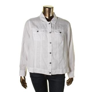 Eileen Fisher Womens Plus Linen Solid Jacket