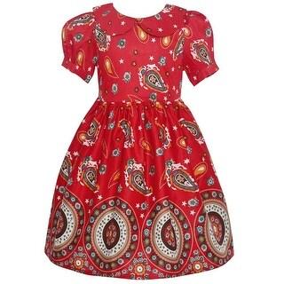Maria Elena Little Girls Red Paisley Eclectic Print Short Sleeve Dress