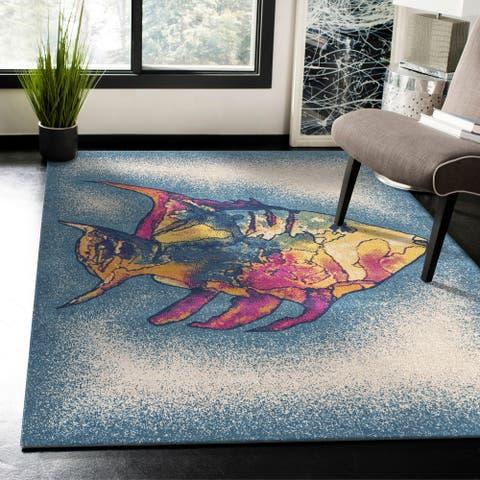 Tropical Coral Fish Multicolored Indoor/Outdoor Rug
