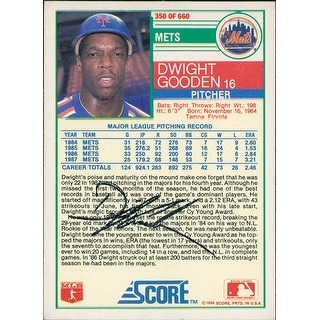 Signed Gooden Dwight New York Mets 1988 Score Baseball Card on the back autographed