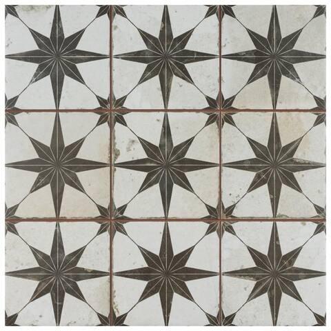 SomerTile Harmonia Kings Star Nero 13x13-inch Ceramic Floor and Wall Tile (10 tiles/12.19 sqft.) - CASE
