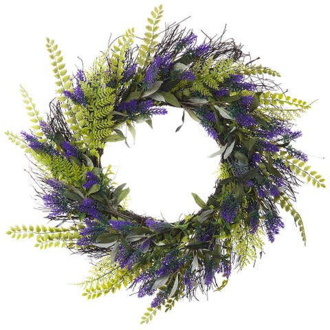 "Enova Home 24"" Artificial Lavender Flower Wreath with Green Leaves for Festival Celebration Front Door Wall Window Decoration"