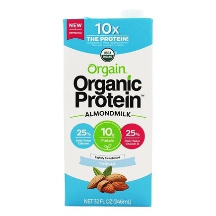 Orgain Organic Protein Almond Milk, Lightly Sweetened Vanilla, 32 Ounce, 6 Count