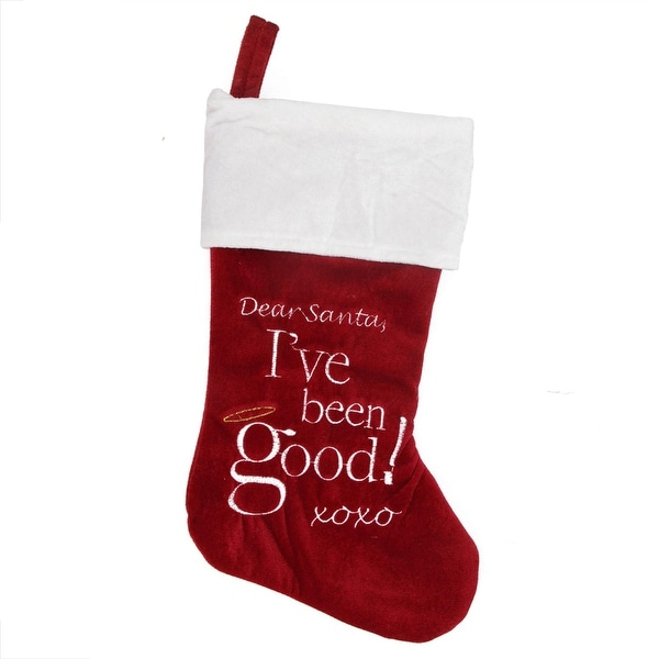 "18"" Red and White Velvet ""Dear Santa"" Halo Embroidered Christmas Stocking"