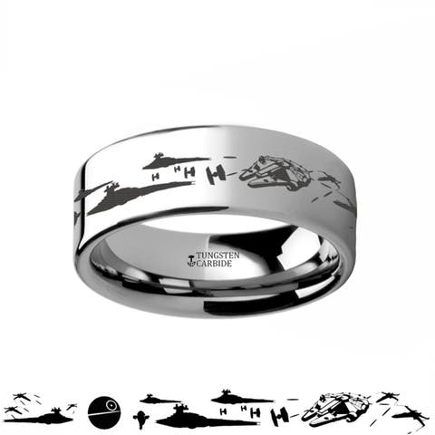 Thorsten Star Wars Tungsten Rings for Men Tungsten Comfort Fit A New Hope Death Star Space Battle Ring Band - 8mm
