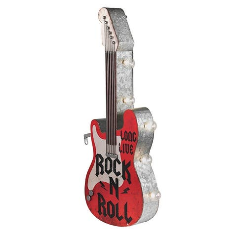 """Rock n Roll Guitar Vintage LED Marquee Sign (25"""" x 10"""")"""