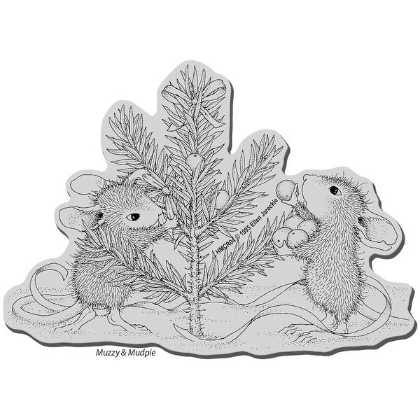 """Stampendous House Mouse Cling Stamp 4""""X6""""-Trim The Tree"""