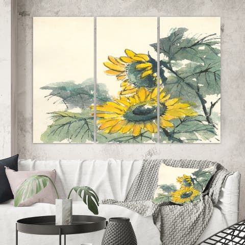 Designart 'Tradionnal Sunflower II' Cabin & Lodge Canvas Wall Art