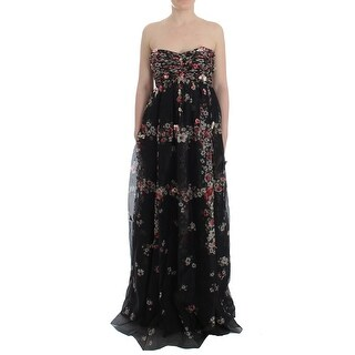 Dolce & Gabbana Masterpiece black floral print silk runway dress - it42-m