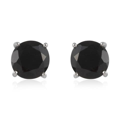 Platinum Over 925 Sterling Silver Black Spinel Stud Earrings Ct 3.95 - Medium