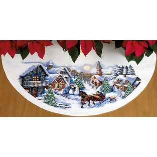 """Sleigh Ride Tree Skirt Counted Cross Stitch Kit-45"""" Round 11 Count"""
