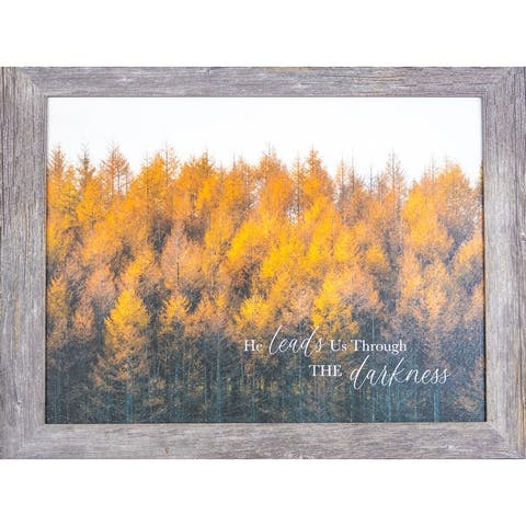 He Leads Us Through Darkness Fall Autumn Framed Art Decor