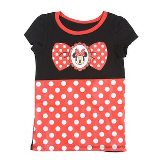 Disney Toddler Girls Minnie Mouse Short Sleeve Costume Tee, Black