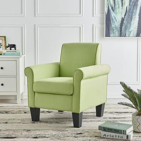 Angela Green Microfiber Fabric Armchair, Rolled Arm Living Room Chair
