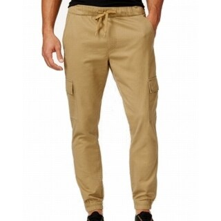 Univibe NEW Gold Beige Mens Large L Jogger Cargo Khakis Chinos Pants