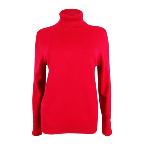 JM Collection Women's Petite Turtleneck Sweater (PM, New Red Amore) - New Red Amore - PM
