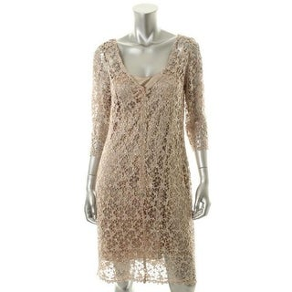 Kay Unger Womens Crochet Sequined Cocktail Dress