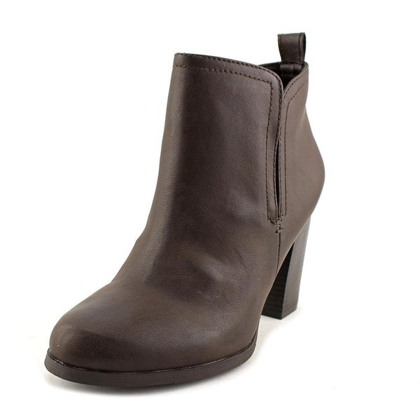 American Rag Seleste Women Round Toe Leather Brown Ankle Boot
