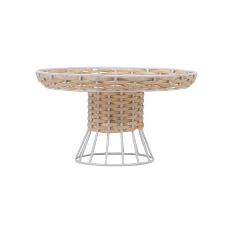 Foreside Home & Garden Large Natural Rattan and White Metal Riser Stand - 10x10x5.75