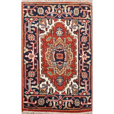 "Geometric Heriz Oriental Home Decor Area Rug Wool Handmade Rust Carpet - 1'11"" x 2'11"""