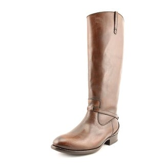 Frye Lindsay Plate Women Round Toe Leather Brown Knee High Boot