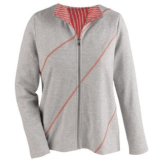 Women's Track Jacket - Bias Stitched Diagonal Stripes - Heather/Coral