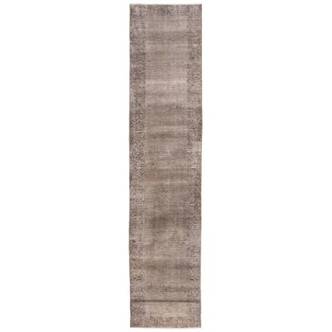 ECARPETGALLERY Hand-knotted Color Transition Grey Wool Rug - 2'7 x 14'0