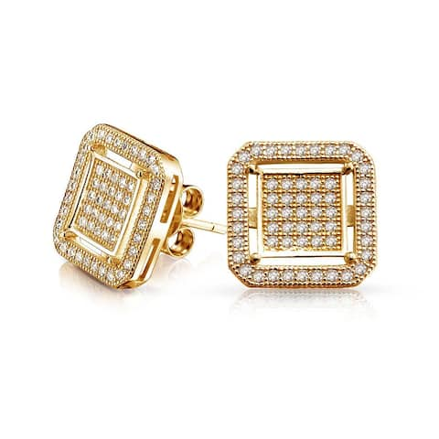 Geometric Rounded Square Double Box Cubic Zirconia Pave CZ Stud Earrings For Men 14K Gold Plated 925 Sterling Silver