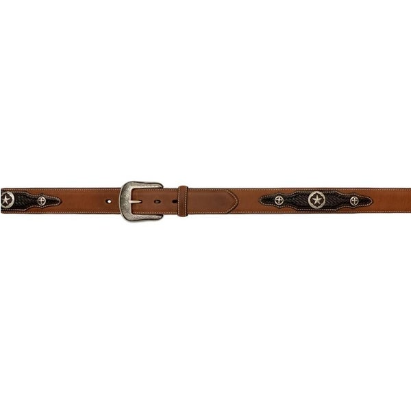 3D Belt Mens Western Leather Patches Star Cross Concho Brown