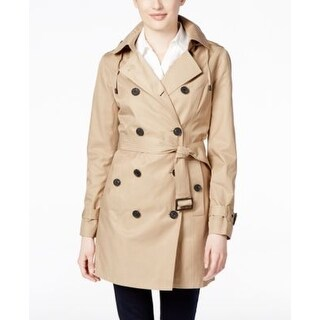 Michael Kors Double-Breasted Hooded Trench British in Khaki (4 options available)